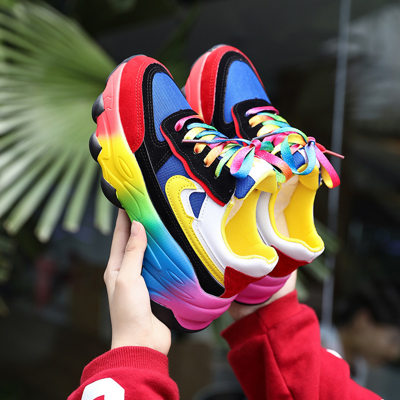 2020 New Chunky Sneakers Colorful Sneakers Women Vulcanize Shoes Womens Rainbow Platform Ladies Trainers Female Casual Krassovki