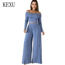 KEXU Casual 2 Pieces Sets Women O Neck Wide Leg Pants Sexy Autumn Long Sleeve Tracksuit Conjunto Feminino Plus Size XXL