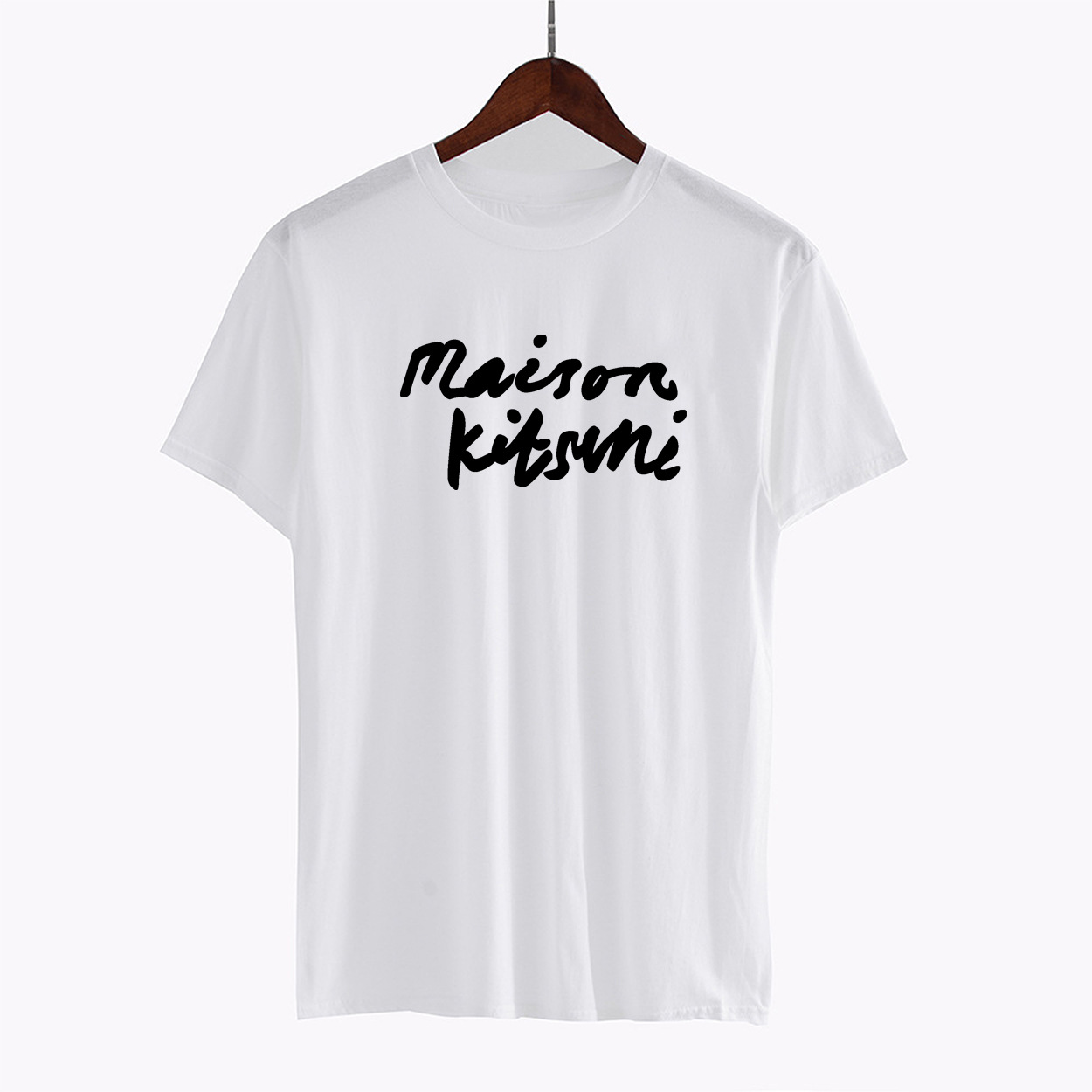 Maison Kitsune 18ss Black And White With Pattern Lettered Printed T-shirt Europe And America Short Sleeve Men's Coat