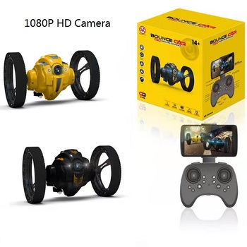 цена на WiFi RC Prank Stunt i Toy High Speed Video Remote Control Jumping Car LED Headlight Smart Bounce Racer Christmas Gift Camera