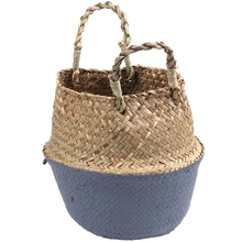 Rattan Basket Straw Garden Foldable Flower Pot Hanging Wicker Storage Woven Seagrass Vase Org