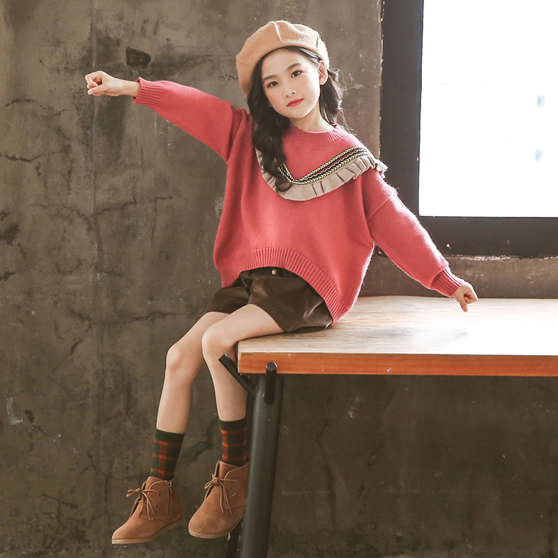 Girls Autumn 2019 New Sweater Sets Korean Version of The Children's Wear Winter Bottoming Sweater