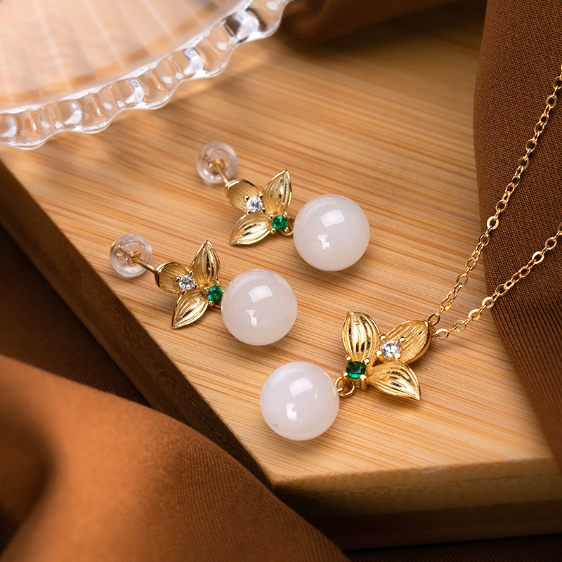 925 Sterling Silver Gold Plated Hetian White Jade Earrings Necklaces Jewelry Sets Designer Trendy Vintage Fine Jewelry Women