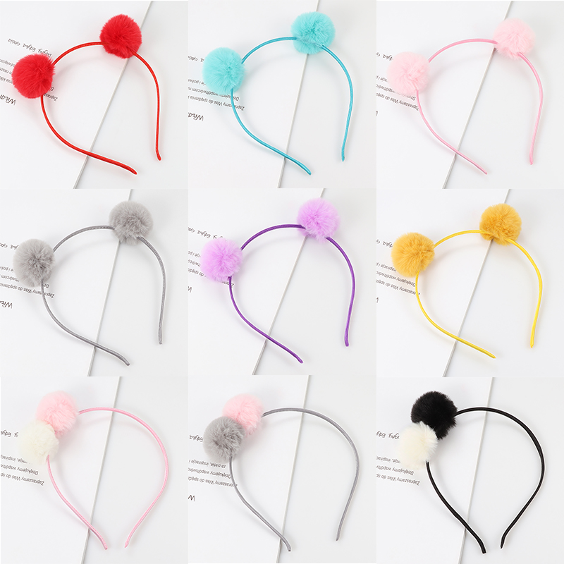 1psc Cute Sweet Girl Hairband Headwear Plush Ball Head Hoop Rabbit Ears  Hair Accessories Female Children Headband Ornaments