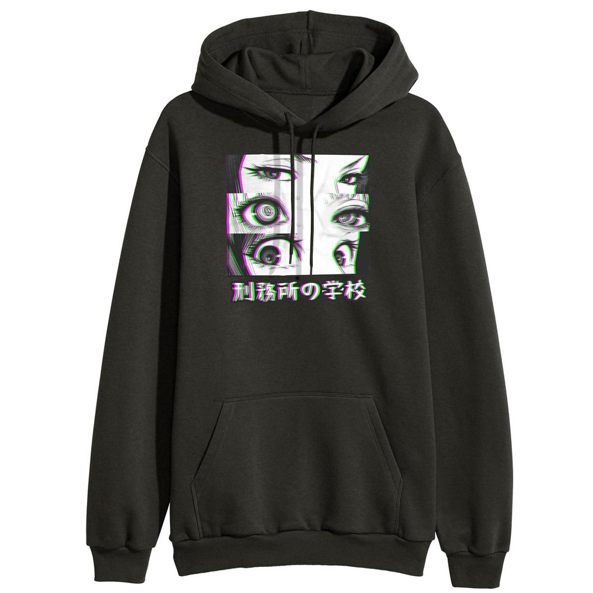 Prison School Eyes Sad Japanese Anime Aesthetic Sweatshirt Women Funny Hooded Pullover Casual Tops Winter Fleece Streetwear