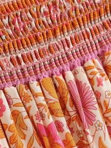 Image 4 - Jupe plissée pour Femme, style Hippie, imprimé floral, style Boho, Vintage, chic, style Boho, style Boho, taille haute, élastique, à volants, ligne a