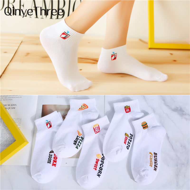 Girls Happy Summer Funny Cartoon Food Socks Unisex White Kawaii Ankle Socks Cute Cola Hamburger Fries Popcorn Pizza Short Sokken
