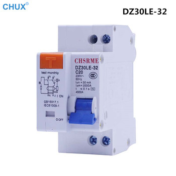Mini Circuit breaker Leakage Protect MCB DZ30LE-32 1P+N 10a 16A 20A 25A 32A 220V 230V 50HZ 60HZ Residual Current Household