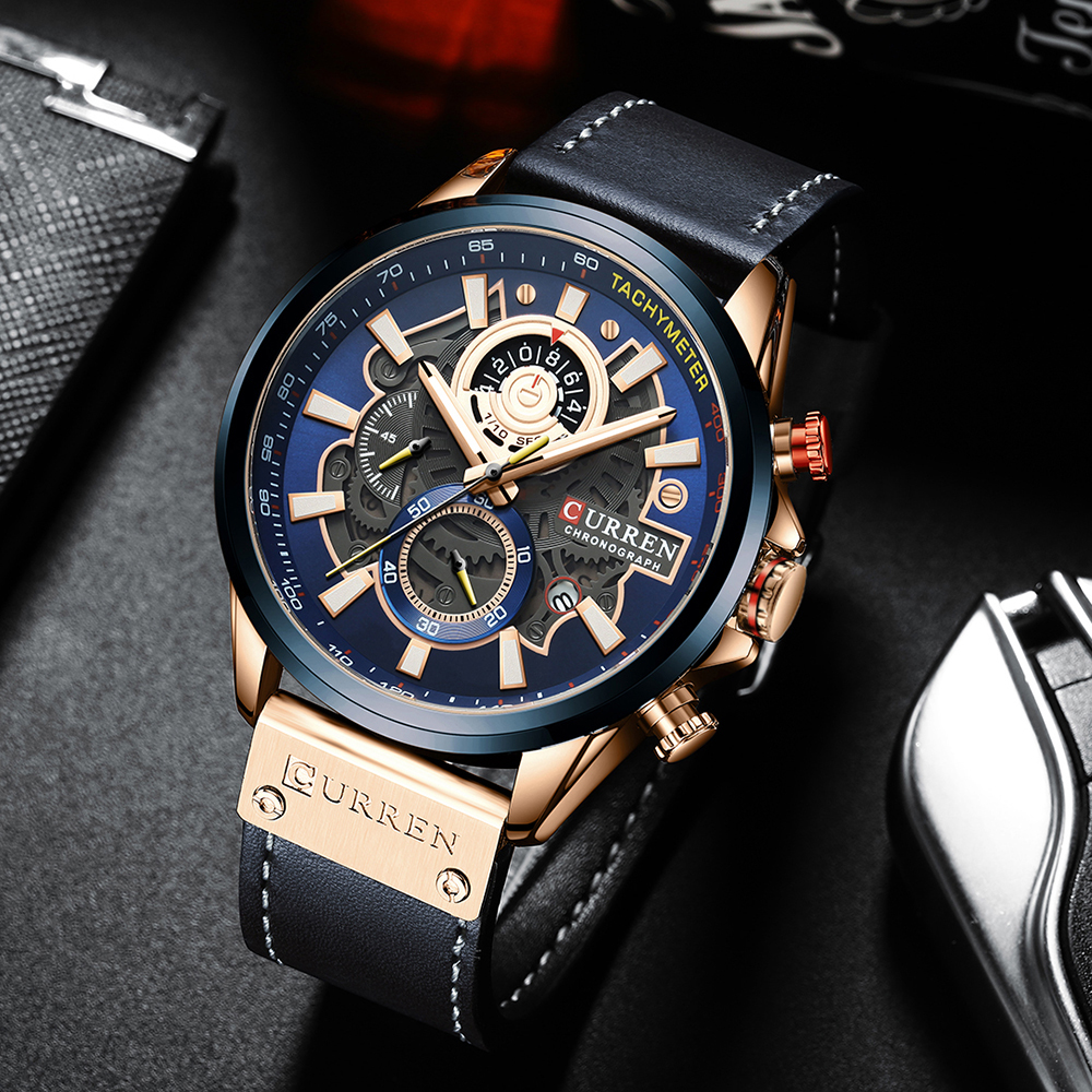 CURREN Watch for Men Top Brand Watches Leather Strap Wristwatch Fashion Chronograph Sport Quartz Clock Male Gift