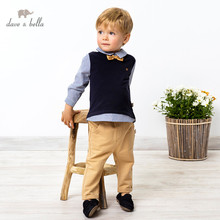 DB16732 dave bella spring baby boys casual removable bow clothing sets kids fashion long sleeve sets children 2 pcs suit