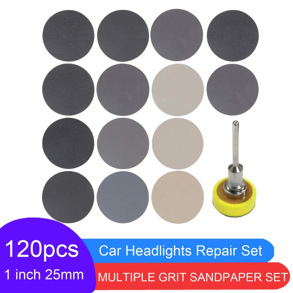 121 Pcs Set 1 Inch  Wet&Dry Sandpaper Sanding Disc Hook loop With Sanding Pad For Car headlight Repair Wood Glass Stone Sanding