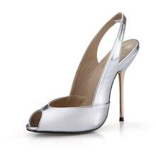 цена на Summer New 11cm High Heeled Sandals Fashion Women Sandals Stiletto Thin heel Slingback Peep Toe Sexy Party Dress Lady Shoe 5-g4