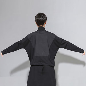 Image 2 - XITAO Patchwork Hit Color negro camiseta mujer moda ropa 2019 soporte cuello manga completa camiseta bolsillo superior otoño nuevo GCC1431