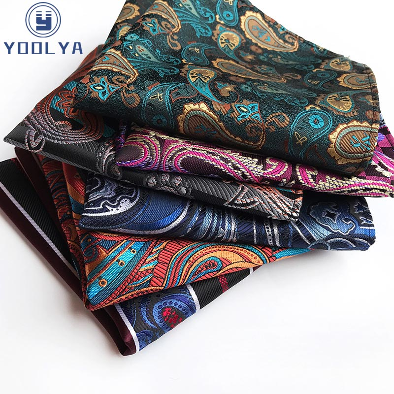 Fashion Paisley Floral Stripe Men Silk Satin Pocket Square 25CM Hanky Jacquard Woven Classic Wedding Party Handkerchief Gift