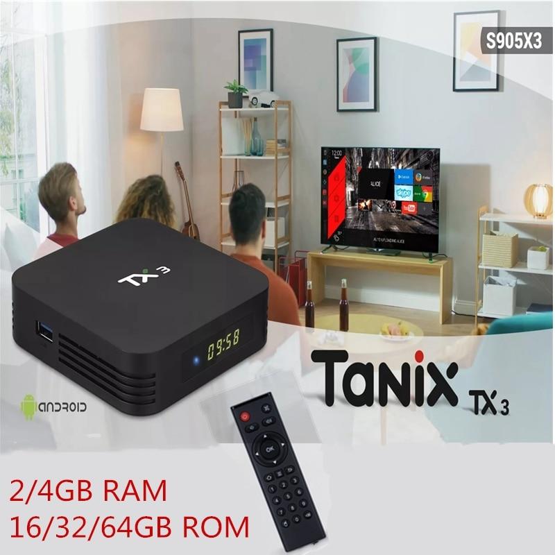 Tanix TX3 S905X3 2/4GB 16/32/64GB Smart TV Box 2,4G 5G dual WiFi Android 9.0 Amlogic Media Player Unterstützung Stimme Fernbedienung