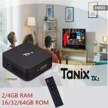 Tanix TX3 S905X3 2/4GB 16/32/64GB Smart TV Box 2.4G 5G dual WiFi Android 9.0 Amlogic Media Player สนับสนุนรีโมทคอนโทรล