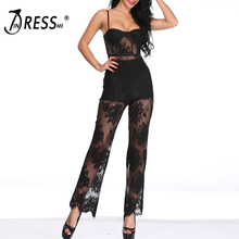 цены INDRESSME 2019 New Summer Women Jumpsuit Romper Elegant Black Lace Sleeveless Spaghetti Strap Jumpsuit Celebrity Party Bodysuit