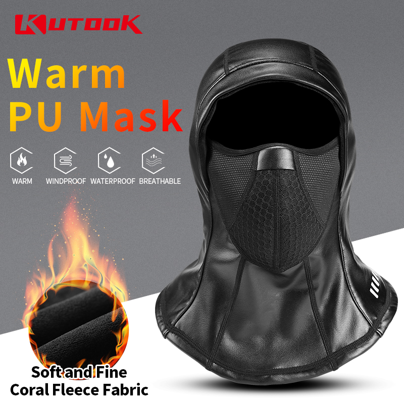 KUTOOK Thermal Scarf PU Mask Winter Cycling Skiing Hang Ears Scarf Keep Warm Waterproof Neck Face Protection windproof Ski Mask Cycling Face Mask     - title=