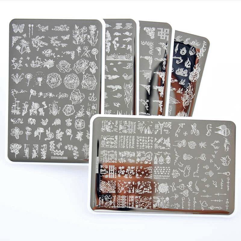WAKEFULNESS Rectangle Nail Stamp Plates Stainless Steel Flower Patterns Stamping Template Stencils Manicure Nail Art Stamp Tools