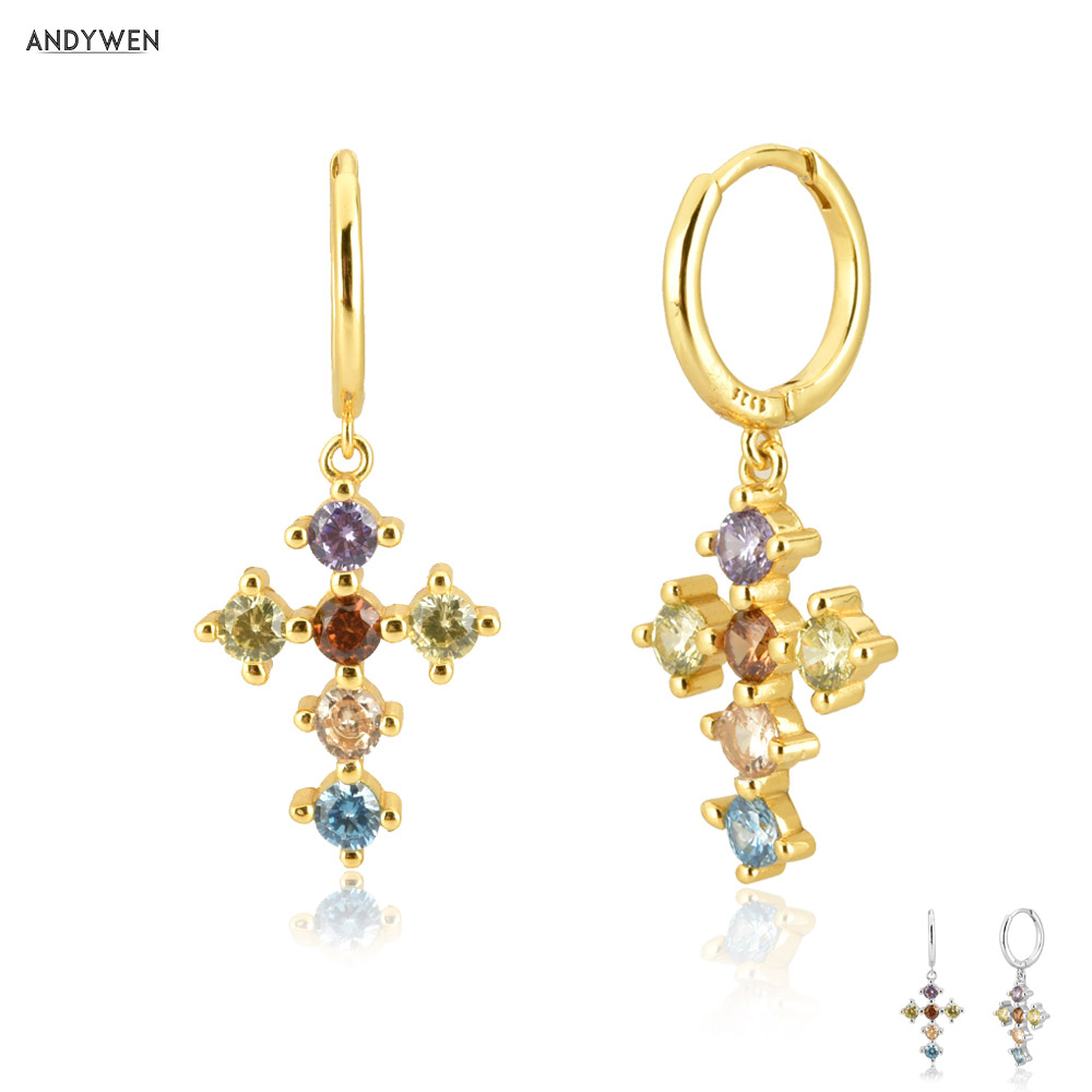 ANDYWEN 925 Sterling Silver Gold Rainbow CZ Cross Pendiente Drop Round Earring 2020 Rock Punk Trends European Circle Earring