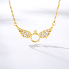 Angel Wings Necklace For Women Rhinestone Round Pendant Necklace Fashion Stainless Steel Gold Jewelry Girlfriend Accessories rhinestone metal round gemini pendant necklace