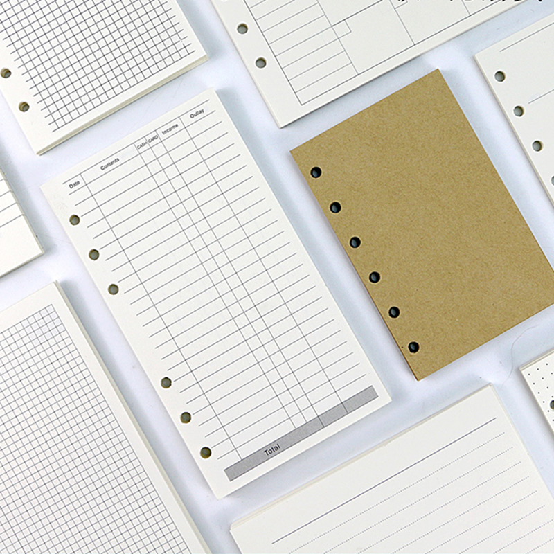 filler papers refill planner A5 A6 Ivory White Standard 6-hole Inner Page Loose Leaf Paper Refil Folhas Set Refill Planner A7