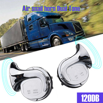 12V 120dB Car Horn Motorcycle Universal Chrome Dual Tone Air Snail Pack of 2pcs Accessories Tweeter Hor