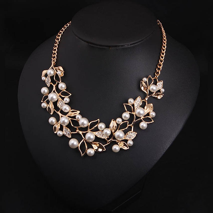 Simulated Pearl Necklaces & Pendants Leaves Statement Necklace Women Collares Ethnic Jewelry for Women Gifts
