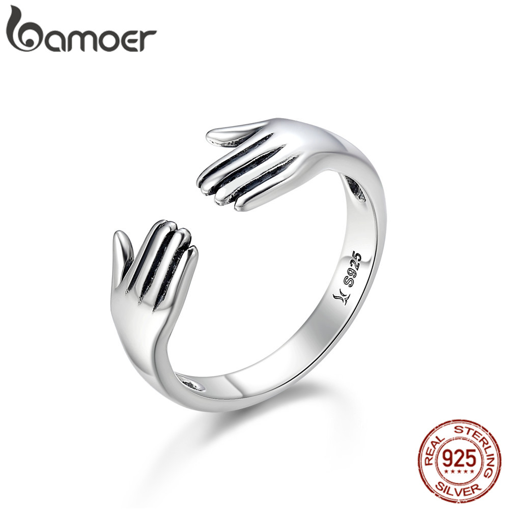 BAMOER GIVE ME A HUG Courage Hand Open Finger Rings For Women And Men Ajustable Ring 925 Sterling Silver Jewelry SCR136