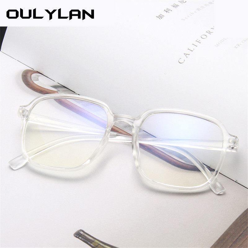 Oulylan Transparent Glasses Frame Women Retro Anti-blue Light Computer Glasses Men 2020 Trend Oversized Spectacle Frames