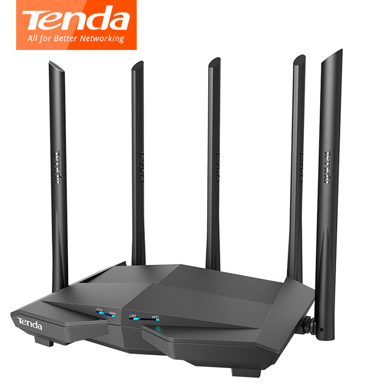 Tenda AC11 Gigabit Wifi Router 1200Mbps Wireless Dual Band 2.4G/5G Four Gigabit Ports 5*6 Dbi Antenna Repeater 1GHz CPU 128 DDR3