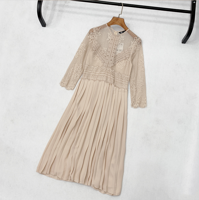 Women Elegant Long Sleeve Mid Calf Pleated Dress Female Summer Hollow Out Lace Patchwork Dress Casual O Neck Dress Vestidos in Dresses from Women 39 s Clothing
