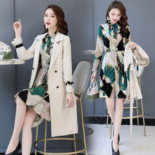 Spring Autumn Trench Coat Slim OL Ladies Trench Coat Women Dress Women Windbreakers Plus Size Two Pieces Women Sets Trench Coats cheap WSRYXG CN(Origin) Spring Autumn Full Broadcloth Office Lady Polyester Button Pockets Spliced Print long 4A535 V-Neck Single Breasted