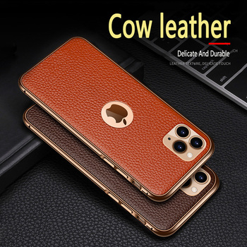 Cowhide Genuine Leather Back Case for iPhone 11 Pro MAX Phone Case Protective Back Cover for iPhone SE 2020 XS MAX X R 7 8 plus