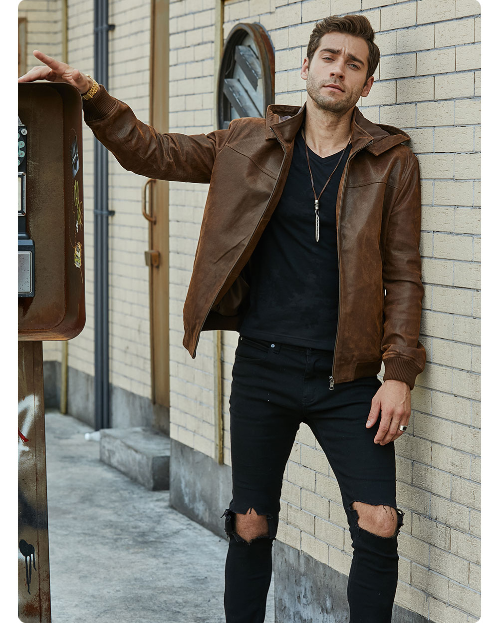H3392fd9ded8e439d8a424e2ebe79098c9 New Men's Winter Jacket Made Of Genuine Pigskin Leather With A Hood, Pigskin Motorcycle Jacket, Natural Leather Jacket
