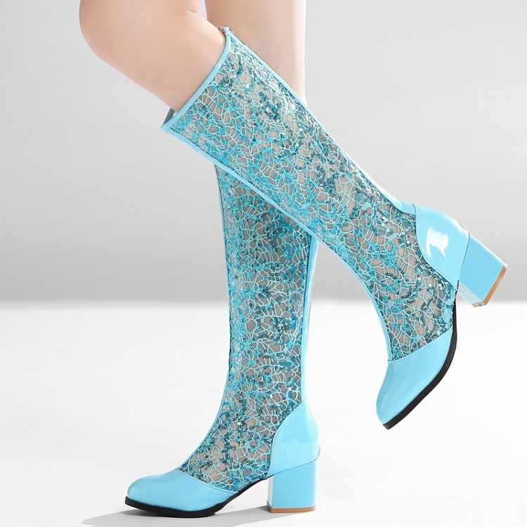 New Arrivals Boots Women Knee-high Boots Fashion Ladies Summer Breathable Lace Boots Square Middle Heels Shoes Zipper MAZIAO
