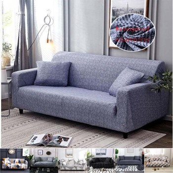 4 sizes elastic solid color sofa cover for u shape sofa cover l shaped stretch seater chair sofa cover pillow case Sofa Cover Waterproof Solid Color High Stretch Slipcover Elastic Couch Cover Sofa Covers For Living Room 1/2/3/4 Seater