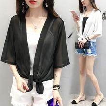 Cardigan Clothing Tops Chiffon-Shirt Long-Sleeve Women Summer Shawl Sun-Protection Loose