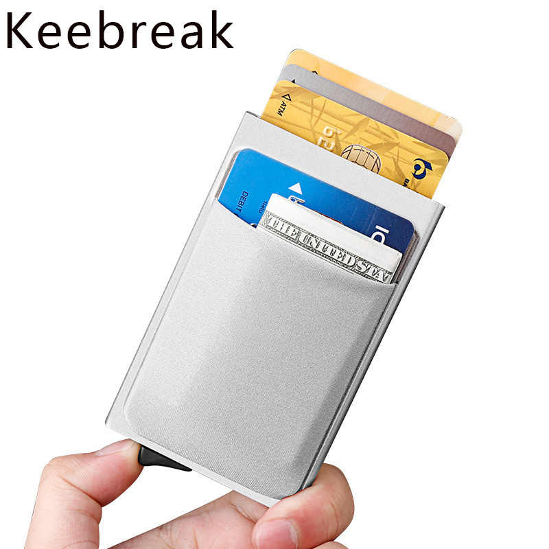 Pop up card men's wallet small slim aluminum metal wallets mini secret rfid blocking male wallet purse drop shipping walet