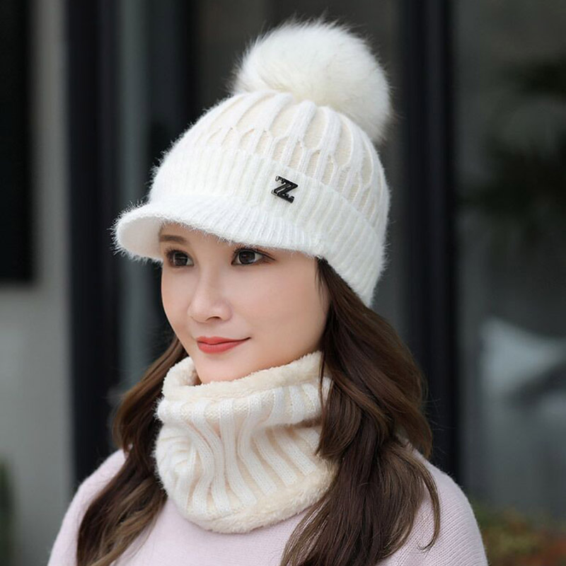 Winter Knitted Beanies Hats Women Thick Warm Beanie Skullies Hat Female Knit Letter Z Bonnet Beanie Caps Outdoor Riding Ski Sets