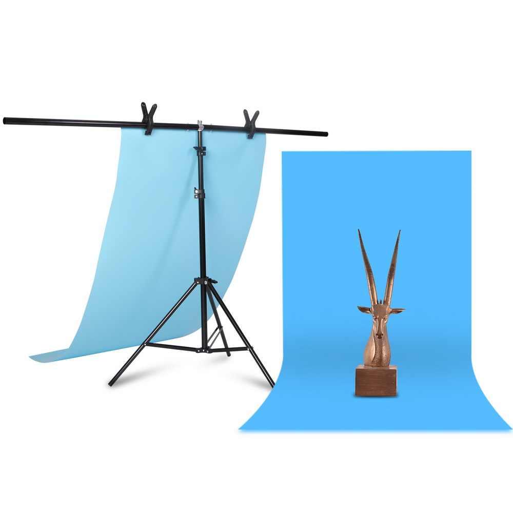 Professionele Fotografie Foto Achtergrond Staat T-Vorm Achtergrond Frame Ondersteuning Systeem Stands Met Klemmen Voor Video Studio