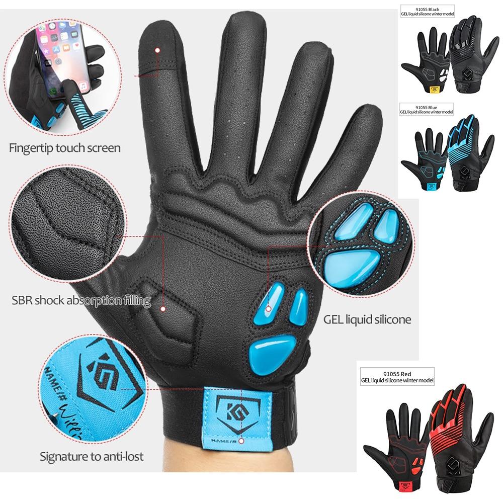 ROCKBROS Cycling SBR Shock Full Finger Gloves Windproof Sports Gloves Black