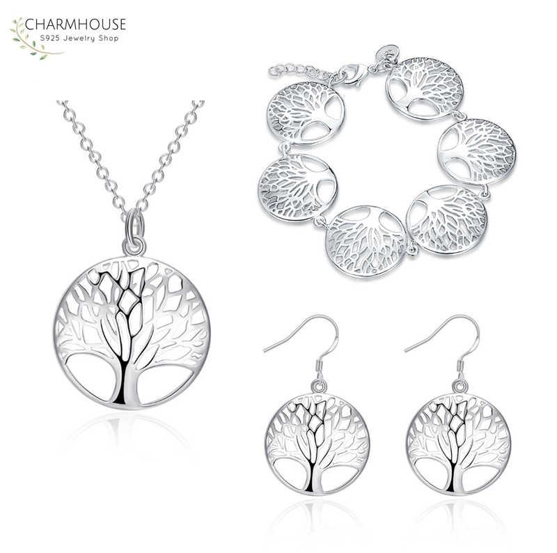 Charmhouse Серебро 925 комплекты украшений для женщин Дерево жизни кулон ожерелье браслет серьги 3 шт Набор Свадебные украшения подарки