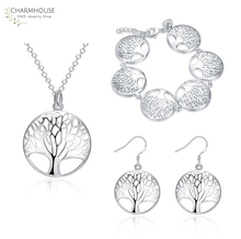 Charmhouse Silver 925 Jewelry Sets For Women Tree Life Pendant Necklace Bracelet Earring 3 PCS Set Wedding Bridal Jewelry Gifts цена 2017