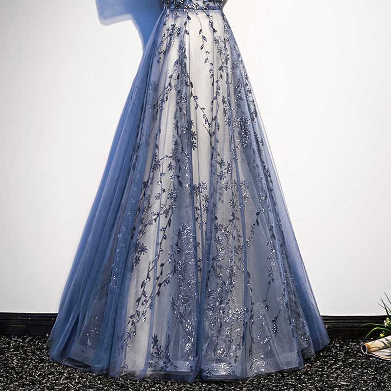 WLN18491 JANCEMBER 2019 שמלת ערב סירת צוואר קצר שרוולי תחרה עד בחזרה אפליקציות באורך רצפת שמלת מסיבת вечернее платья