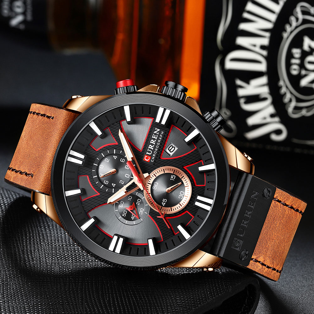 H339367c1d90741dfa11b865a4858c69aU CURREN  Brand Luxury Men Watch Leather Quartz Clock Fashion Chronograph Wristwatch Male Sport Military 8346 Relogio Masculino