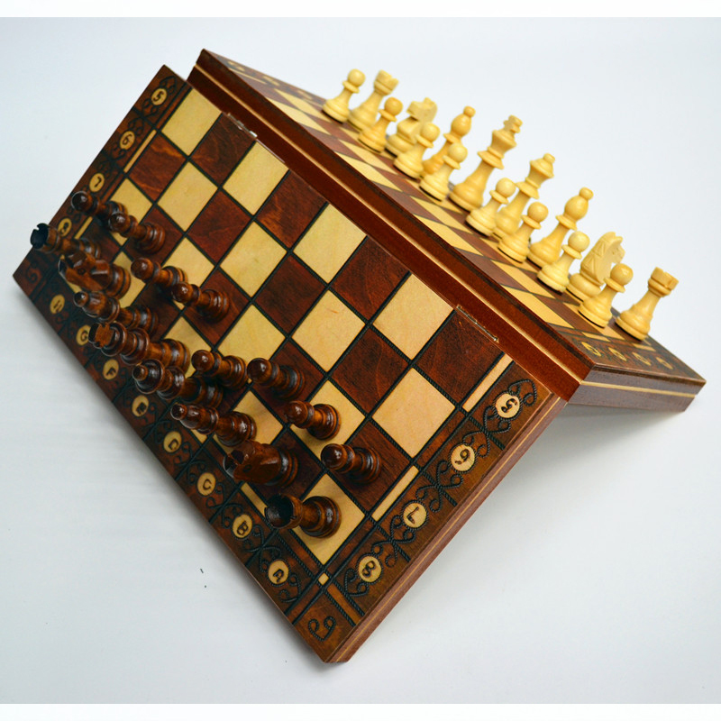 3 In 1 Wooden Chess Backgammon Checkers Folding Magnetic Chess Set Pieces Chessboard Board Games Children Gifts
