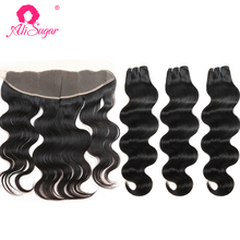 Ali Sugar Virgin Hair peruwiańskie doczepy typu body wave z czołowym 13*4 szwajcarska koronka Natural Color surowe doczepy z ludzkich włosów tanie tanio Ciało fala = 15 NONE Wszystkie kolory 3 sztuk wątek i 1 pc zamknięcia Peruwiański włosów