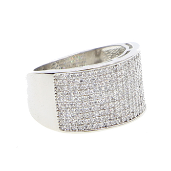 full cz prong setting hip hop bling top quality jewelry for men boy classic wide band cz fashion silver color ring