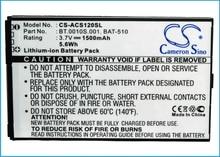 Cameron Sino 1500mAh Battery For Acer Liquid Metal MT S120,BAT-510 BAT-510 (1ICP5/42/61) BT.0010S.001 BT0010S00111308990BATA1 зажим autoprofi bat clm 001
